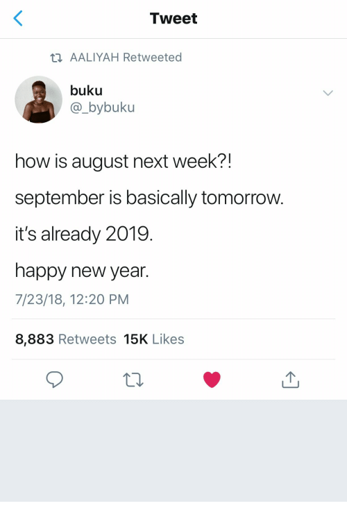 New Year's, Aaliyah, and Happy: Tweet  ti AALIYAH Retweeted  buku  @_bybuku  how is august next week?!  september is basically tomorrow  it's already 2019.  happy new year.  7/23/18, 12:20 PM  8,883 Retweets 15K Likes