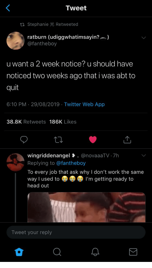 abt: Tweet  ti Stephanie Retweeted  ratburn (udiggwhatimsayin?)  @fantheboy  u want a 2 week notice? u should have  noticed two weeks ago that i was abt to  quit  6:10 PM 29/08/2019 Twitter Web App  .  38.8K Retweets 186K Likes  wingriddenangel. @novaaaTV 7h  Replying to @fantheboy  To every job that ask why I don't work the same  way I used to  head out  I'm getting ready to  Tweet your reply