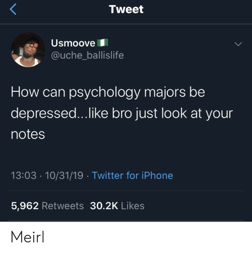 ballislife: Tweet  Usmoove  @uche_ballislife  How can psychology majors be  depressed...like bro just look at your  notes  13:03 10/31/19 Twitter for iPhone  5,962 Retweets 30.2K Likes Meirl