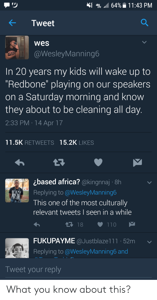"""redbone: Tweet  wes  @WesleyManning6  In 20 years my kids will wake up to  Redbone"""" playing on our speakers  on a Saturday morning and know  they about to be cleaning all day  2:33 PM 14 Apr 17  11.5K RETWEETS 15.2K LIKES  ¿based africa? @kinannaj. 8h  Replying to @WesleyManning6  This one of the most culturally  relevant tweets I seen in a while  FUKUPAYME @Justblaze1 1 1 ·52m  Replying to @Wesley Manning6 and  Tweet your reply What you know about this?"""