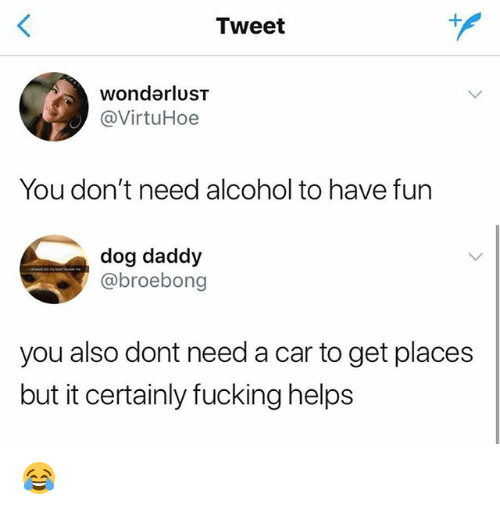Fucking, Memes, and Alcohol: Tweet  wondarlusT  @VirtuHoe  You don't need alcohol to have fun  dog daddy  @broebong  you also dont need a car to get places  but it certainly fucking helps 😂