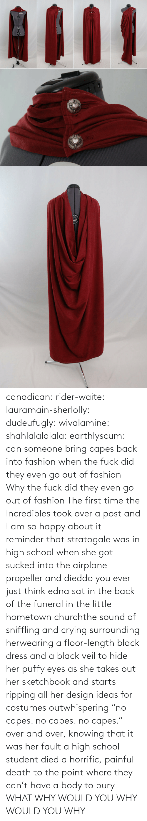 """No Capes: twinfit canadican:  rider-waite:  lauramain-sherlolly:  dudeufugly:  wivalamine:  shahlalalalala:  earthlyscum:  can someone bring capes back into fashion  when the fuck did they even go out of fashion  Why the fuck did they even go out of fashion         The first time the Incredibles took over a post and I am so happy about it  reminder that stratogale was in high school when she got sucked into the airplane propeller and dieddo you ever just think edna sat in the back of the funeral in the little hometown churchthe sound of sniffling and crying surrounding herwearing a floor-length black dress and a black veil to hide her puffy eyes as she takes out her sketchbook and starts ripping all her design ideas for costumes outwhispering """"no capes. no capes. no capes."""" over and over, knowing that it was her fault a high school student died a horrific, painful death to the point where they can't have a body to bury  WHAT WHY WOULD YOU WHY WOULD YOU WHY"""