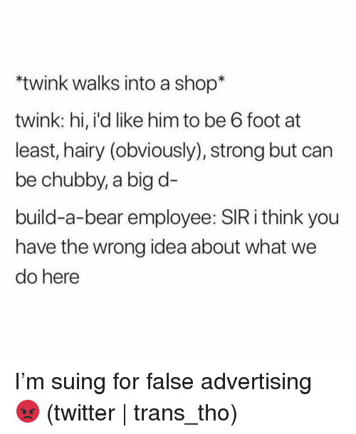 False Advertising: twink walks into a shop*  twink: hi, i'd like him to be 6 foot at  least, hairy (obviously), strong but can  be chubby, a big d-  build-a-bear employee: SIR i think you  have the wrong idea about what we  do here I'm suing for false advertising 😡 (twitter | trans_tho)