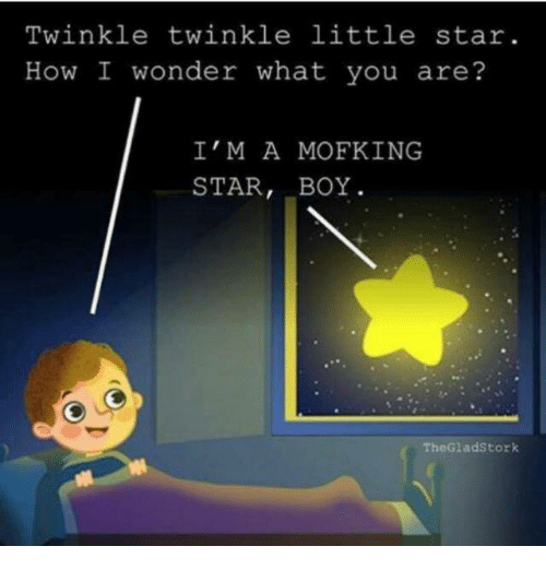 Memes, 🤖, and Twinkle Twinkle Little Star: Twinkle twinkle little star.  How I wonder what you are?  I'M A MOF KING  STAR  BOY  The Gladstork