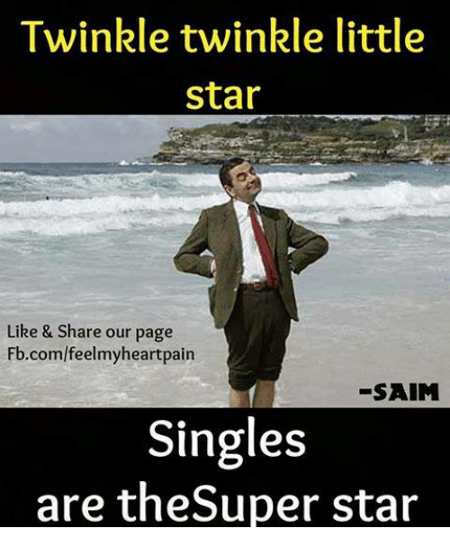 Memes, fb.com, and Star: Twinkle twinkle little  star  Like & Share our page  Fb.com/feelmyheartpain  -SAIM  Singles  are theSuper star