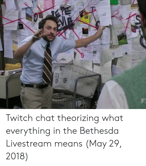 Twitch Chat: Twitch chat theorizing what everything in the Bethesda Livestream means (May 29, 2018)