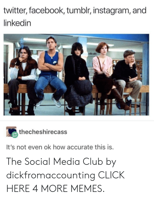 Tumblr Instagram: twitter, facebook, tumblr, instagram, and  linkedin  thecheshirecass  It's not even ok how accurate this is. The Social Media Club by dickfromaccounting CLICK HERE 4 MORE MEMES.
