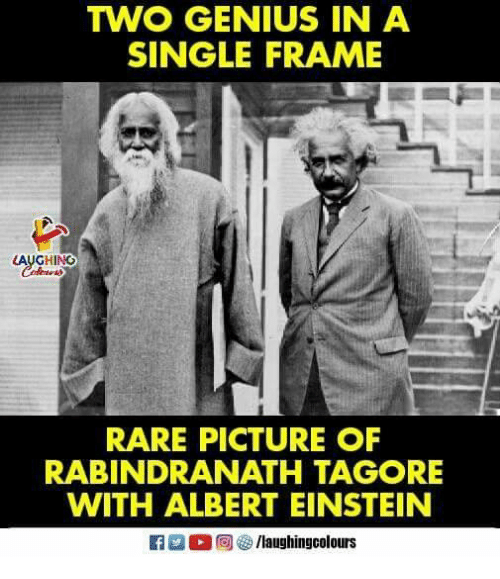 Albert Einstein, Einstein, and Genius: TWO GENIUS IN A  SINGLE FRAME  AUGHING  RARE PICTURE OF  RABINDRANATH TAGORE  WITH ALBERT EINSTEIN  fg/laughingcolours