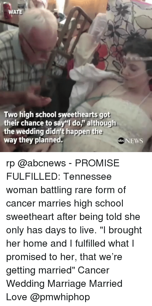 """Sweethearted: Two high school sweethearts got  their chance to sa  I do, although  the wedding didnt happen the  way they planned.  SbcNEWS rp @abcnews - PROMISE FULFILLED: Tennessee woman battling rare form of cancer marries high school sweetheart after being told she only has days to live. """"I brought her home and I fulfilled what I promised to her, that we're getting married"""" Cancer Wedding Marriage Married Love @pmwhiphop"""