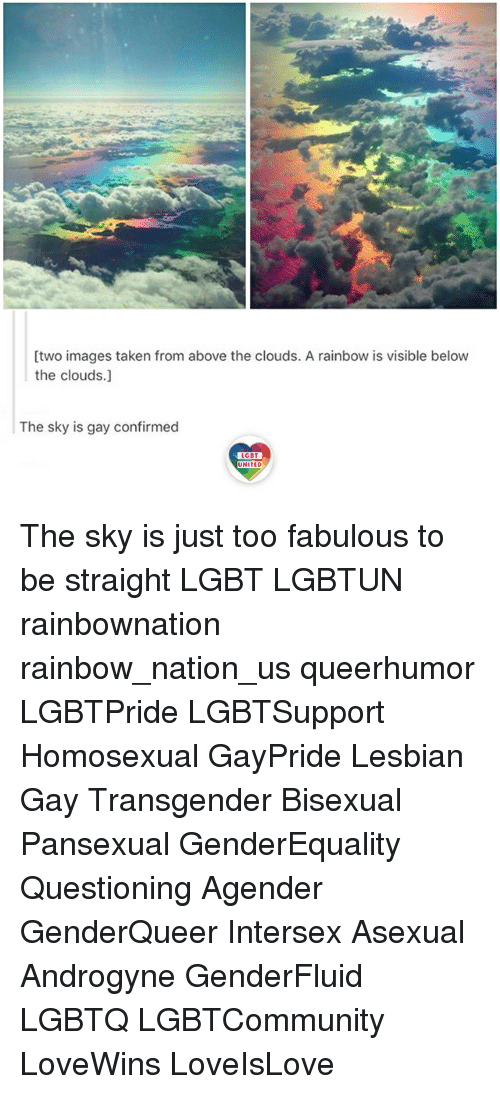 Lgbt, Memes, and Taken: [two images taken from above the clouds. A rainbow is visible below  the clouds.]  The sky is gay confirmed  LGBT  LGBT  UNITED The sky is just too fabulous to be straight LGBT LGBTUN rainbownation rainbow_nation_us queerhumor LGBTPride LGBTSupport Homosexual GayPride Lesbian Gay Transgender Bisexual Pansexual GenderEquality Questioning Agender GenderQueer Intersex Asexual Androgyne GenderFluid LGBTQ LGBTCommunity LoveWins LoveIsLove