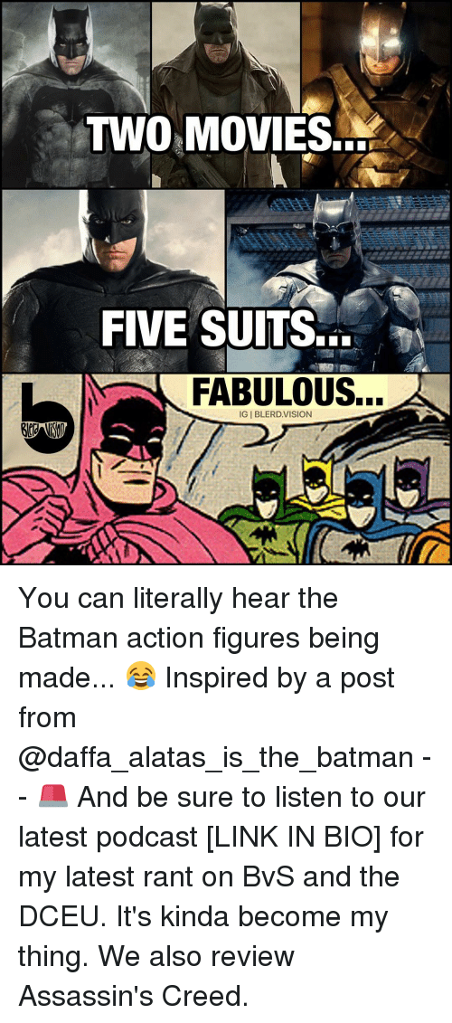 assassin creed: TWO MOVIES.  FIVE SUITS...  FABULOUS...  GIBLERD VISION You can literally hear the Batman action figures being made... 😂 Inspired by a post from @daffa_alatas_is_the_batman -- 🚨 And be sure to listen to our latest podcast [LINK IN BIO] for my latest rant on BvS and the DCEU. It's kinda become my thing. We also review Assassin's Creed.