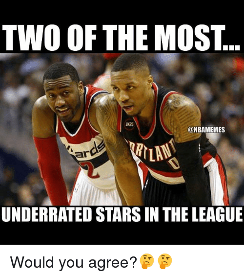 Basketball, Sports, and Stars: TWO OF THE MOST  K25  @NBAMEMES  ar  2  UNDERRATED STARS IN THE LEAGUE Would you agree?🤔🤔