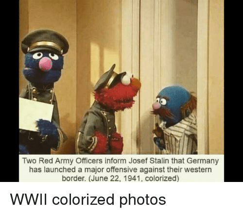 Stalinator: Two Red Army Officers inform Josef Stalin that Germany  has launched a major offensive against their western  border. (June 22, 1941, colorized)
