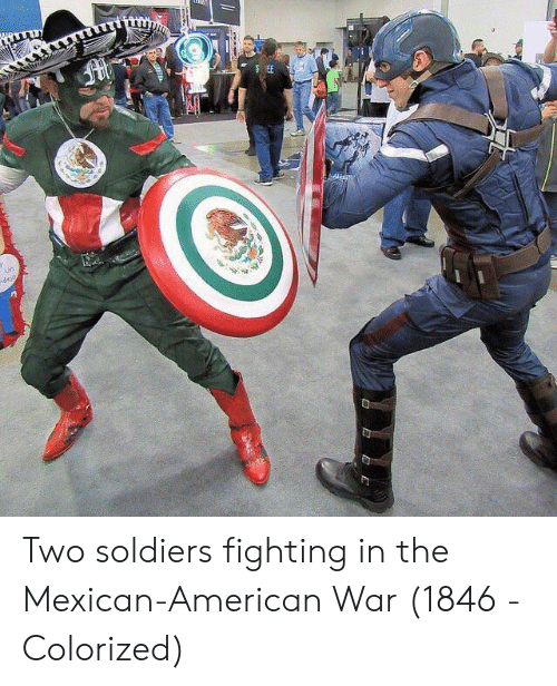 the mexican: Two soldiers fighting in the Mexican-American War (1846 - Colorized)