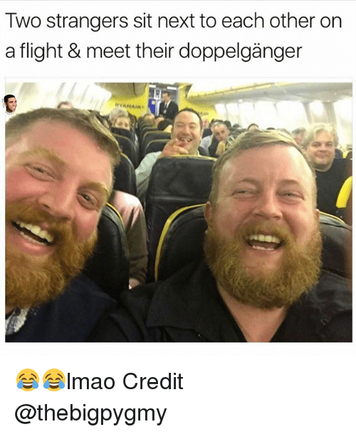 Doppelganger, Memes, and Flight: Two strangers sit next to each other on  a flight & meet their doppelganger  AIR 😂😂lmao Credit @thebigpygmy