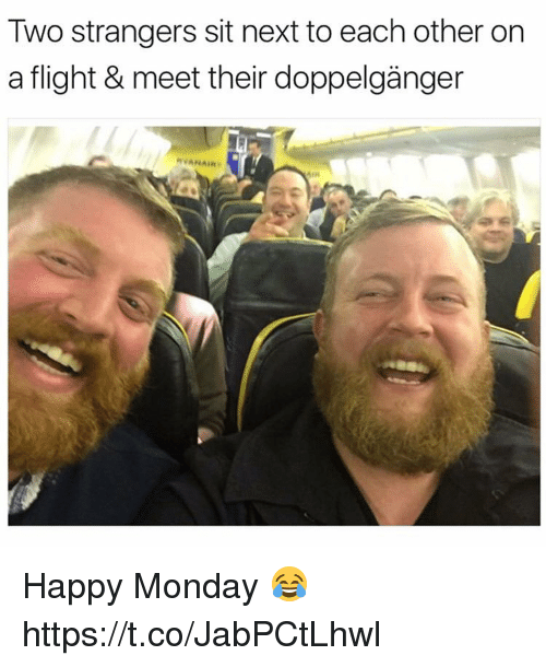 Doppelganger, Memes, and Flight: Two strangers sit next to each other on  a flight & meet ther doppelganger  RVANAIR  AIR Happy Monday 😂 https://t.co/JabPCtLhwl