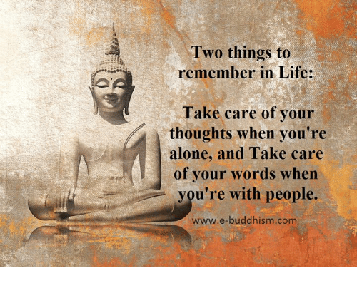 memes: Two things to  remember in Life:  Take care of your  thoughts when you're  alone, and Take care  of your words when  you're with people.  www.e-buddhism com