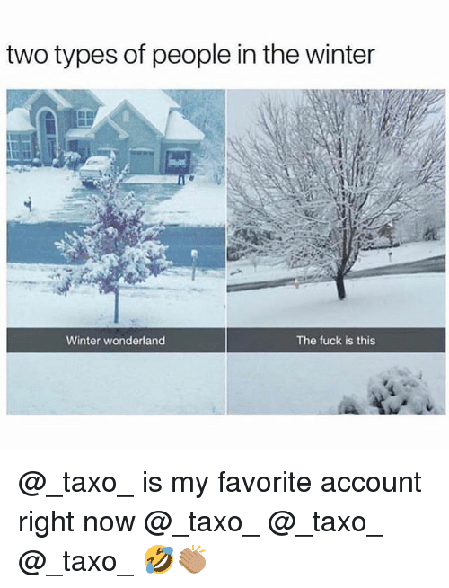 Memes, Winter, and Fuck: two types of people in the winter  Winter wonderland  The fuck is this @_taxo_ is my favorite account right now @_taxo_ @_taxo_ @_taxo_ 🤣👏🏽