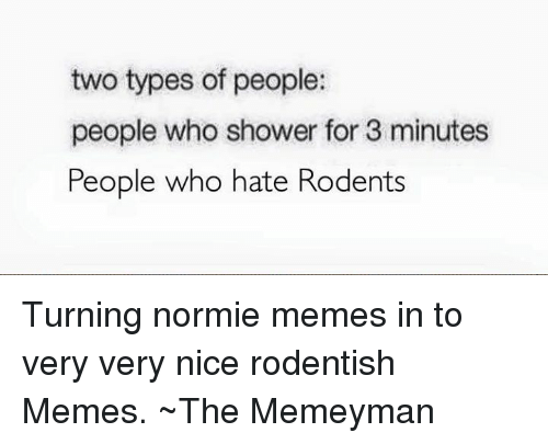 Meme, Memes, and Shower: two types of people:  people who shower for 3 minutes  People who hate Rodents Turning normie memes in to very very nice rodentish Memes.  ~The Memeyman