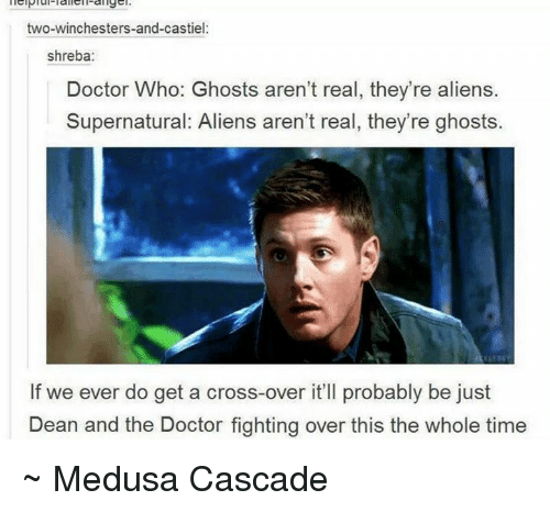 cascade: two-winchesters-and-castiel:  shreba:  Doctor Who: Ghosts aren't real, they're aliens.  Supernatural: Aliens aren't real, they're ghosts.  If we ever do get a cross-over it'll probably be just  Dean and the Doctor fighting over this the whole time ~ Medusa Cascade