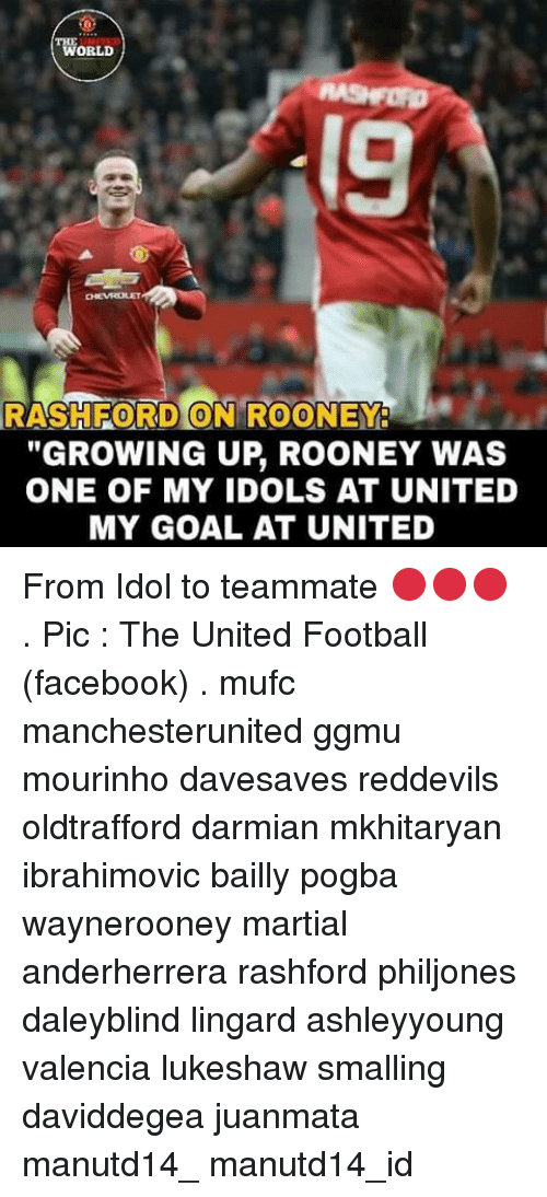 "Memes, 🤖, and Pogba: TWORLD  RASH FORD ON ROONEY  ""GROWING UP ROONEY WAS  ONE OF MY IDOLS AT UNITED  MY GOAL AT UNITED From Idol to teammate 🔴🔴🔴 . Pic : The United Football (facebook) . mufc manchesterunited ggmu mourinho davesaves reddevils oldtrafford darmian mkhitaryan ibrahimovic bailly pogba waynerooney martial anderherrera rashford philjones daleyblind lingard ashleyyoung valencia lukeshaw smalling daviddegea juanmata manutd14_ manutd14_id"