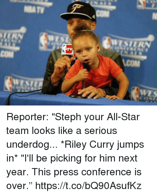 "All Star, Riley Curry, and Sports: TY  COM Reporter: ""Steph your All-Star team looks like a serious underdog...  *Riley Curry jumps in*  ""I'll be picking for him next year. This press conference is over."" https://t.co/bQ90AsufKz"