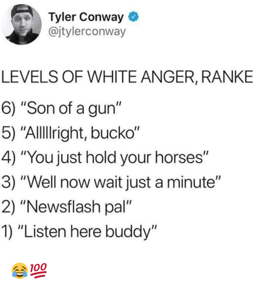 """Conway: Tyler Conway  @jtylerconway  LEVELS OF WHITE ANGER, RANKE  6) """"Son of a gun""""  5) """"Allllright, bucko""""  4) """"You just hold your horses""""  3) """"Well now wait just a minute""""  2) """"Newsflash pal""""  1) """"Listen here buddy"""" 😂💯"""
