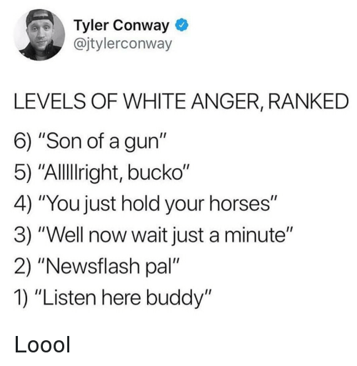 """Conway: Tyler Conway *  @jtylerconway  LEVELS OF WHITE ANGER, RANKED  6) """"Son of a gun""""  5) """"Alllright, bucko""""  4) """"You just hold your horses""""  3) """"Well now wait just a minute""""  2) """"Newsflash pal""""  1) """"Listen here buddy"""" Loool"""