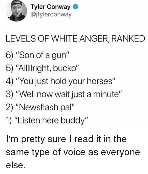 """Conway: Tyler Conway  @jtylerconway  LEVELS OF WHITE ANGER, RANKED  6) """"Son of a gun""""  5) """"Allllright, bucko""""  4) """"You just hold your horses""""  3) """"Well now wait just a minute""""  2) """"Newsflash pal""""  1) """"Listen here buddy"""" I'm pretty sure I read it in the same type of voice as everyone else."""