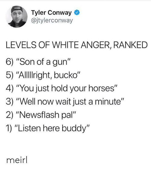 """Conway: Tyler Conway  @jtylerconway  LEVELS OF WHITE ANGER, RANKED  6) """"Son of a gun""""  5) """"Allllright, bucko""""  4) """"You just hold your horses""""  3) """"Well now wait just a minute""""  2) """"Newsflash pal  1) """"Listen here buddy"""" meirl"""