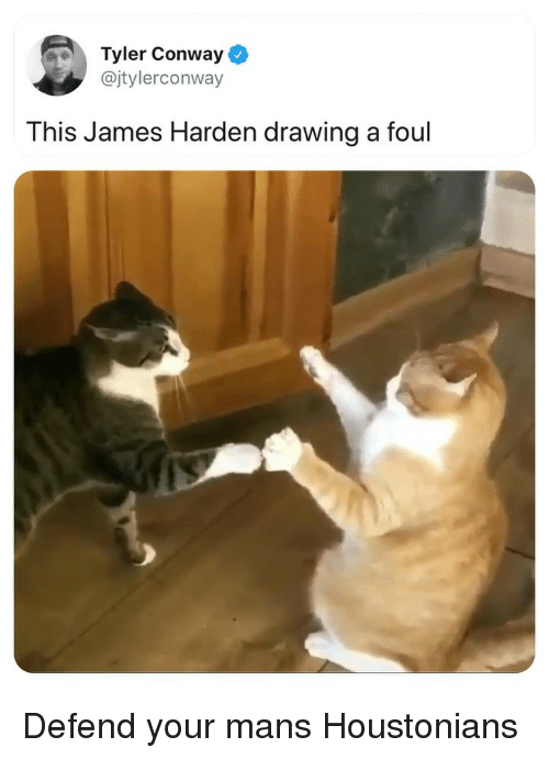 Conway: Tyler Conway  @jtylerconway  This James Harden drawing a foul Defend your mans Houstonians