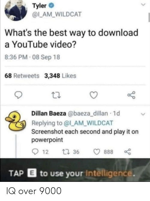 intelligence: Tyler  @L_AM_WILDCAT  What's the best way to download  a YouTube video?  8:36 PM- 08 Sep 18  68 Retweets 3,348 Likes  Dillan Baeza @baeza_dillan 1d  Replying to @l_AM_WILDCAT  Screenshot each second and play it on  powerpoint  12  t 36  888  TAP E to use your Intelligence. IQ over 9000