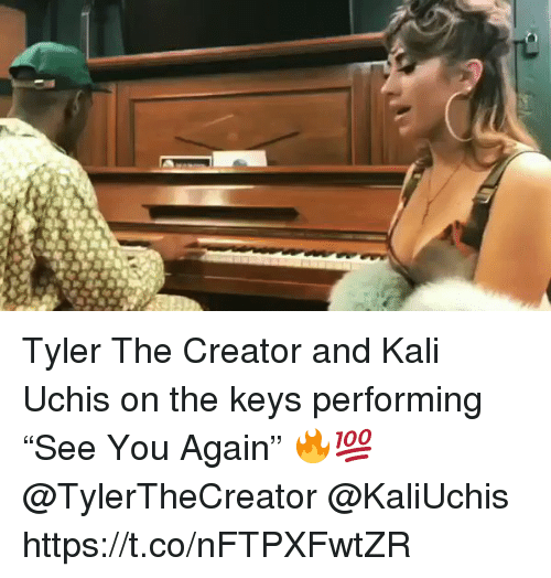 "Kalied: Tyler The Creator and Kali Uchis on the keys performing ""See You Again"" 🔥💯 @TylerTheCreator @KaliUchis https://t.co/nFTPXFwtZR"