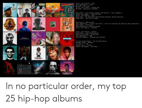 Pharrell Williams: Tyler, the Creator -  Earl Sweatshirt  Wolf  OFERATION  Doris  DOOMSDAT  м. . Food  MF DOOM  WOLF  Tyler, the Creator  MF DOOM  Flower Boy  Operation: Dooms day  Kanye West  Chance the Rapper  The College Dropout [UK Version  Coloring Book  Igor  (Art changes)]  Tyler, the Creator  Kanye West  Kanye West  My Beautiful Dark Twisted Fantasy (Deluxe Edition)  The Life Of Pablo  THE LIFE OF  THE LIFE OF  PABLO  PABLO  THE LIFE OF  PABLO  THE EE OE PABLO  T  THE  Madvillainy  - I Don't Like Shit, I Don't Go Outside: An Album by Earl Sweatshirt  Graduation  Madvillain  Earl Sweatshirt  PABLO  PABLO  3  Kanye West  Earl Sweatshirt  THE LIFE OF  PABLO  - some rap songs  Tyler, the Creator  Bastard  ADVISERY  Tyler, the Creator  Kanye West  Pharrell Williams  Goblin  MEDYILLREN  Late Registration  In My Mind  Earl Sweatshirt  EARL  Childish Gambino  Because the Internet  10ONTLKE  IDONT GO OUTSE  AN ALBUM DY EARL SWEATSHIRT  BASTARD  A Tribe Called Quest  The Low End Theory  -  Freddie Gibbs - Bandana  Lil Nas X - 7 EP  SOR  Denzel Curry  Chance the Rapper  TA1300  - Acid Rap  ATIEORT  kanWest  GOBLIN  PHARRELL  In my minD  ACEDRAP  пи  THE LOWENDTHEOR In no particular order, my top 25 hip-hop albums