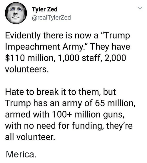 "evidently: Tyler Zed  @realTylerZed  Evidently there is now a ""Trump  Impeachment Army."" They have  $110 million, 1,000 staff, 2,000  volunteers  Hate to break it to them, but  Trump has an army of 65 million,  armed with 100+ million guns,  with no need for funding, they're  all volunteer Merica."