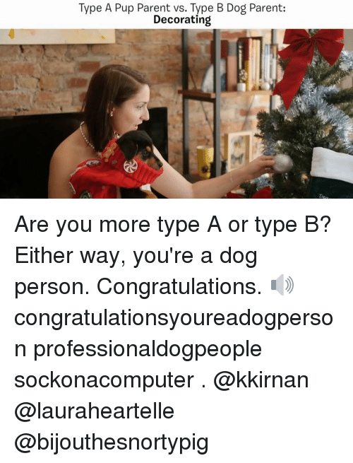 Memes, Congratulations, and Decoration: Type A Pup Parent vs. Type B Dog Parent:  Decorating Are you more type A or type B? Either way, you're a dog person. Congratulations. 🔊 congratulationsyoureadogperson professionaldogpeople sockonacomputer . @kkirnan @lauraheartelle @bijouthesnortypig