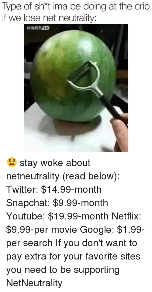Funny, Google, and Netflix: Type of sh*t ima be doing at the crib  if we lose net neutrality: 😫 stay woke about netneutrality (read below): Twitter: $14.99-month Snapchat: $9.99-month Youtube: $19.99-month Netflix: $9.99-per movie Google: $1.99-per search If you don't want to pay extra for your favorite sites you need to be supporting NetNeutrality