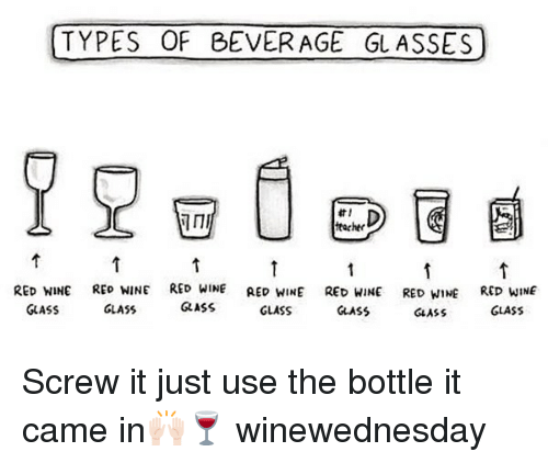 Funny, Teacher, and Wine: TYPES OF BEVERAGE GL ASSES  teacher  RED WINE RED WINE RED WINE RED WINE RED WINE RED WIE RED WINE  GLASS  GLASS  GLASS  GLASS  AS GLASS  GASS  GLASS Screw it just use the bottle it came in🙌🏻🍷 winewednesday