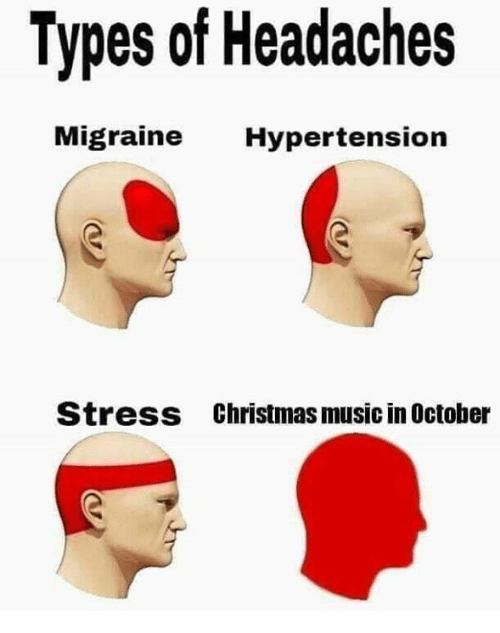 christmas-music: Types of Headaches  ligraine Hypertension  Stress  Christmas music in October