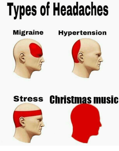 christmas-music: Types of Headaches  Migraine Hypertension  stress Christmas music