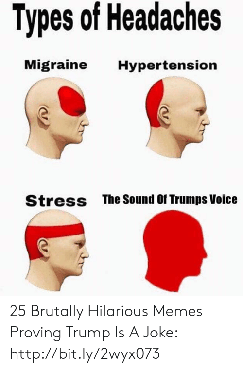 Trumps: Types of Headaches  Migraine  Hypertension  The Sound Of Trumps Voice  Stress 25 Brutally Hilarious Memes Proving Trump Is A Joke: http://bit.ly/2wyx073