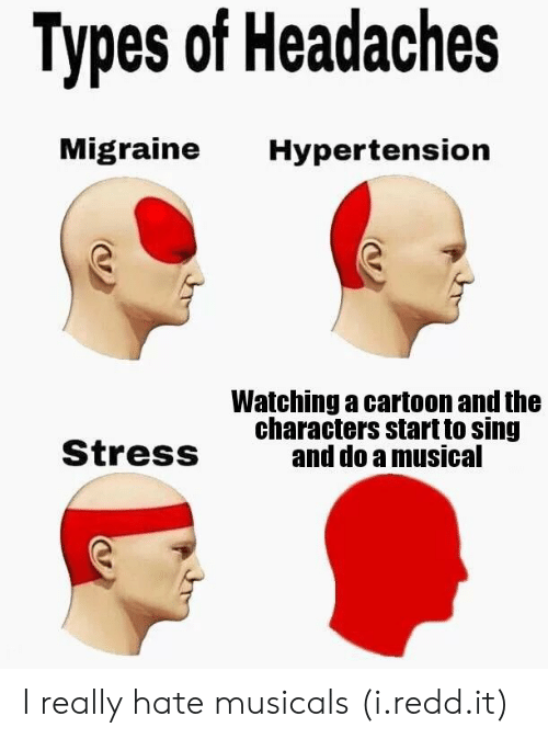 musicals: Types of Headaches  Migraine Hypertension  Watching a cartoon and the  characters start to sing  and do a musical  StresS I really hate musicals (i.redd.it)