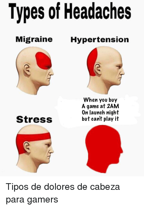 dolores: Types of Headaches  Migraine Hypertension  When you buy  A game at 2AM  On launch night  but can't play it  StressS <p>Tipos de dolores de cabeza para gamers</p>