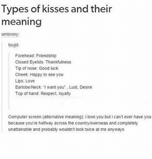"""Computers, Memes, and Computer: Types of kisses and their  meaning  umbrony:  toujiii  Forehead: Friendship  Closed Eyelids: Thankfulness  Tip of nose: Good luck  Cheek Happy to see you  Lips: Love  Earlobe/Neck: """"I want you Lust, Desire  Top of hand: Respect, loyalty  Computer screen (alternative meaning): ilove you buticant ever have you  because you're halfway across the countryloverseas and completely  unattainable and probably wouldn't look twice at me anyways"""