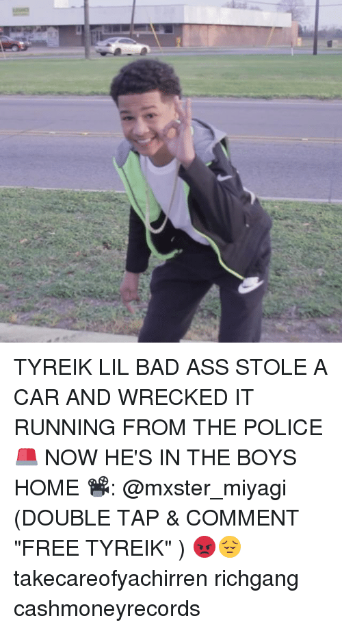 """Wreck It: TYREIK LIL BAD ASS STOLE A CAR AND WRECKED IT RUNNING FROM THE POLICE 🚨 NOW HE'S IN THE BOYS HOME 📽: @mxster_miyagi (DOUBLE TAP & COMMENT """"FREE TYREIK"""" ) 😡😔 takecareofyachirren richgang cashmoneyrecords"""