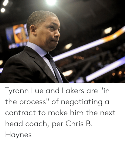 """Lue: Tyronn Lue and Lakers are """"in the process"""" of negotiating a contract to make him the next head coach, per Chris B. Haynes"""