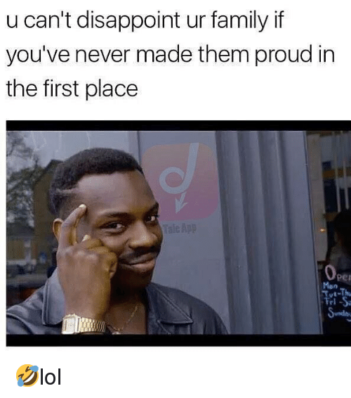 Family, Memes, and Proud: u can't disappoint ur family if  you've never made them proud in  the first place  per  Man  ль 🤣lol