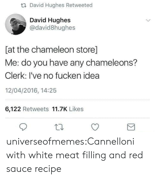 Chameleon: u David Hughes Retweeted  David Hughes  @david8hughes  [at the chameleon store]  Me: do you have any chameleons?  Clerk: I've no fucken idea  12/04/2016, 14:25  6,122 Retweets 11.7K Likes universeofmemes:Cannelloni with white meat filling and red saucerecipe