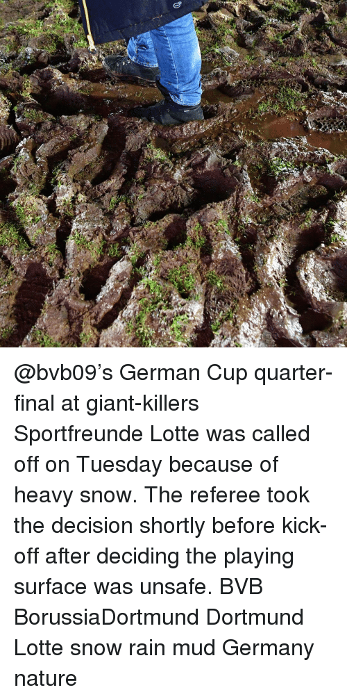 Memes, Giant, and Giants: u  M @bvb09's German Cup quarter-final at giant-killers Sportfreunde Lotte was called off on Tuesday because of heavy snow. The referee took the decision shortly before kick-off after deciding the playing surface was unsafe. BVB BorussiaDortmund Dortmund Lotte snow rain mud Germany nature