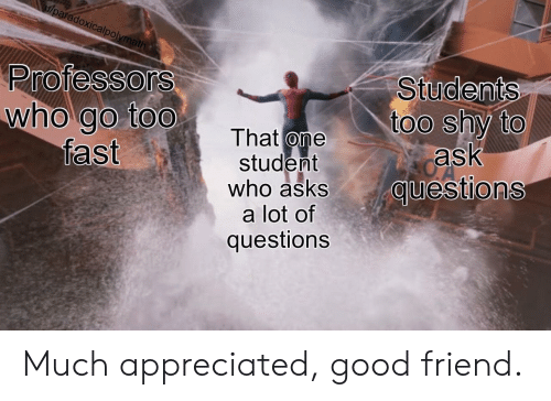 appreciated: u/paradoxicalpolymath  Professors  who go too  fast  Students  too shy to  ask  questions  That one  student  who asks  a lot of  questions Much appreciated, good friend.